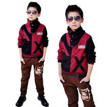 童装中大童男童秋装2013新款 儿童休闲运动套装全棉长袖套装 包邮 价格:70.00
