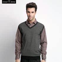 潮众秋冬新款男士假两件套格子长袖打底衫羊毛保暖衬衣羊绒针织衫 价格:169.00