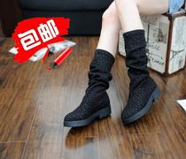 欧洲站2013春秋季新款亮片舒适休闲厚底显瘦毛线两穿高筒女式靴子 价格:158.00