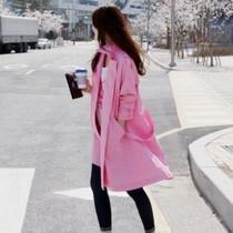韩国代购正品春秋装复古糖果粉刺绣猫咪工装休闲中长款风衣外套女 价格:148.00