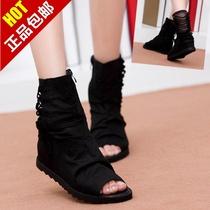 欧洲站平底内增高黑色蕾丝网靴女鞋子 2013夏鱼嘴靴新款凉靴凉鞋 价格:118.00