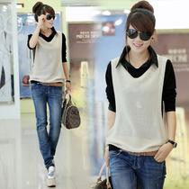 AA622A秋装新款2013女装韩版衬衫领里衫长袖针织两件套针织衫 女 价格:107.10