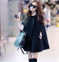 欧美时尚气质女装冬装斗篷蝙蝠袖宽松大码毛呢外套黑色呢子大衣 价格:65.00