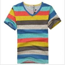 个性彩虹条纹t恤 男士短袖t恤2013男装潮流V领韩版夏装海魂衫衣服 价格:33.60