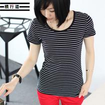 横行道 夏装新款夏季修身海魂衫打底衫女装大码 条纹t恤 女 短袖 价格:49.00