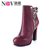 璐薇 2013新款短靴个性豹纹拼接撞色拉链款 高跟真皮时尚春秋鞋女 价格:599.00