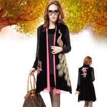胖mm秋装韩版女装2013 胖人显瘦高领两件套大码金丝绒连衣裙2316 价格:289.00