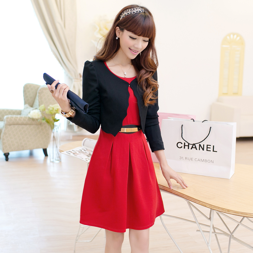 2013新款品质女装秋装连衣裙气质修身喜庆红色长袖两件套连衣裙秋 价格:158.00
