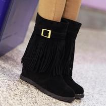 秋冬新款甜美坡跟流苏靴高跟短靴内增高雪地靴厚底单靴防滑女靴子 价格:48.00