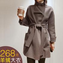 2013冬装韩版新款真毛羊毛呢子双排扣腰带修身长款外套大衣 价格:268.00