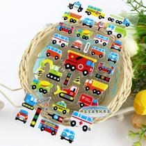 儿童立体卡通贴纸 实心粘纸 泡泡贴 装饰贴 韩版贴画 工程小车 价格:1.20