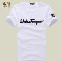 2013韩版修身上衣服半截袖潮牌夏装男士短袖T恤小衫新款白色全棉 价格:55.00