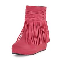 2013秋新款流苏靴短靴坡跟女靴子厚底防水台高跟及裸靴百搭淑女靴 价格:58.00