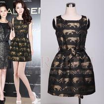 2013春夏新款 欧美大牌熊黛林明星同款印豹子图修身背心裙 配腰带 价格:288.00