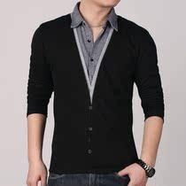 2013秋季新款长袖t恤男士 韩版宽松假两件翻领t恤 大码男装T��潮 价格:65.00