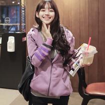 韩国代购秋装新款2013女装 字母中长款带帽卫衣开衫厚外套 韩版潮 价格:125.00