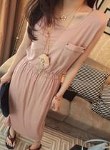 2013新款口袋休闲显瘦无袖连衣裙女韩版长裙高腰黑色绿色粉色通勤 价格:48.00