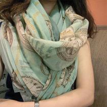 包邮围巾 女 巴厘纱春秋空套防晒丝巾长款韩版棉麻丝巾披肩两用 价格:10.90