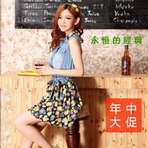 韩版碎花雪纺无袖牛仔连衣裙 2013夏季女装新款修身牛仔裙正品秋 价格:90.00
