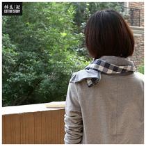 """棉花记●特价配饰●""""街景""""文艺范条纹双层针织围巾 价格:55.00"""