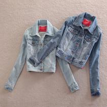 秋季新款女装外套 EDC修身显瘦百搭翻领短款夹克牛仔外套女牛仔衣 价格:95.00