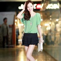 歌莉娅2013夏装新品质韩版OL通勤修身显瘦雪纺衫朵以女式雪纺小衫 价格:60.00