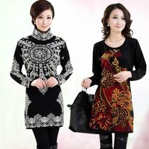 秋冬新款中年羊绒裙 韩版宽松中长款羊毛衫 妈妈装高低领针织衫 价格:55.00