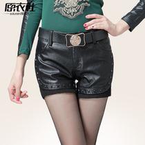 皮短裤 女 2013秋冬季新品高档靴裤 欧美时尚铆钉拼PU皮短裤女 价格:136.80