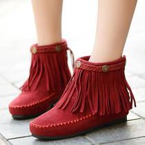靴子女 春秋 短靴2013秋季女靴平底内增主高流苏靴甜美圆头雪地靴 价格:55.00