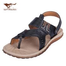 七匹狼凉鞋男士夏季时尚 2013休闲透气新款真皮沙滩鞋 牛皮正品 价格:168.00