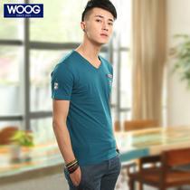 包邮 WOOG韩版男装2013夏装男士V字领短袖T恤纯色简约男T恤打底衫 价格:80.00