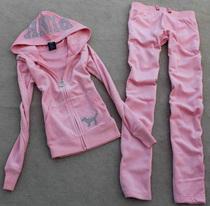 韩版新款pink 运动休闲金丝绒套装 韩版加厚连帽卫衣天鹅绒套装 价格:223.44