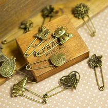 聚可爱♥Zakka风复古古铜色别致胸针 杂志款怀旧百搭手工别针 价格:1.99