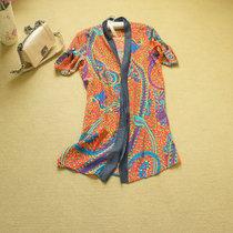 特 欧美一线etro 真丝vs丹宁 混搭风格  古典印花真丝衬衫裙 价格:254.60