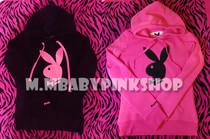 秋冬外贸Playboy花花公子荧光兔头修身款显瘦套头帽衫卫衣 女外套 价格:70.05