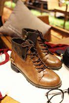 大小姐 韩国复古翻边真皮牛皮单鞋系带高帮短靴子 时尚女鞋 V38 价格:199.00