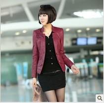 2013春装新款女装 翻领机车PU小皮衣女短款修身夹克大码女士外套 价格:158.00