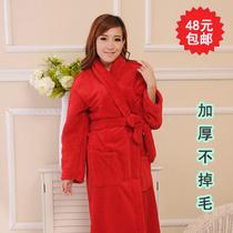 特价秋冬季纯色可爱珊瑚绒睡袍浴袍情侣长袖纯棉男女士法兰绒睡衣 价格:48.00