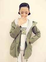 包邮 秋装新款韩版潮女装大码中长款外套 修身连帽风衣女W48 价格:126.70