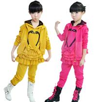 2013春秋童装新款 女童韩版马甲三件套运动套装 中大童女孩运动服 价格:98.00