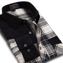 秋装新款拼接男士长袖格子衬衫 潮男装休闲长袖衬衣 加厚英伦衬衫 价格:69.00