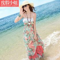 沙滩裙长裙吊带波西米亚拖地夏装雪纺连衣裙大码显瘦海边度假裙子 价格:75.00
