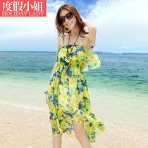 度假小姐沙滩裙波西米亚雪纺前短后长吊带连衣裙夏装海边燕尾裙子 价格:79.00