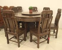 鸡翅木餐桌 红木家具 原木圆餐桌圆台 八人位 福禄寿带转盘餐台 价格:10580.00