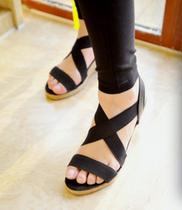 小园子精品推荐 绑带玫红蓝黑色 亚麻草编底凉鞋 舒服养脚坡跟鞋 价格:53.36