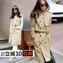 衣加二秋装新款 双排扣中长款女式风衣外套 韩版两件套风衣女装秋 价格:179.00