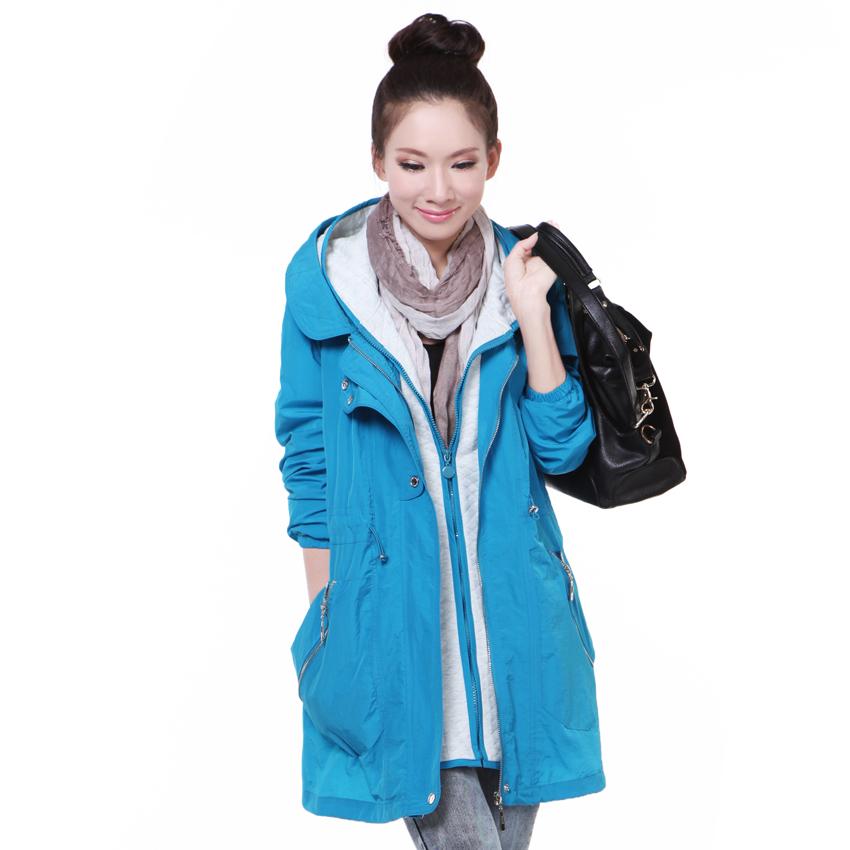 冰贝2013秋装新款韩版时尚连帽可拆两件式大码女式风衣外套189 价格:298.80