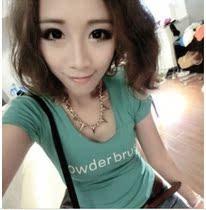 2013夏装新款韩版正品铆钉 女士短袖 ck t恤 女装圆领修身显瘦T恤 价格:7.50