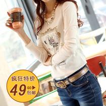 新款潮韩版百搭修身纯棉白色长袖女式T恤打底小衫体恤上衣服秋装 价格:49.51
