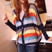 2013春装新款韩版大码宽松彩虹条纹针织衫女开衫 毛衣 价格:62.40